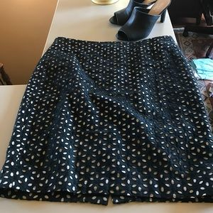 Ann Taylor Loft Black and Beige Eyelet Skirt